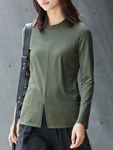 Stand Collar Casual Long Sleeve T-Shirt