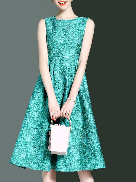 Green A-line Jacquard Crew Neck Sleeveless Midi Dress