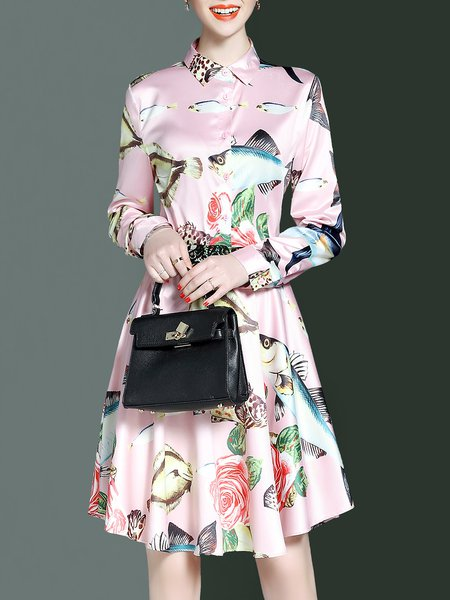 Pink Printed Long Sleeve Two Piece Animal Print Top With Skirt