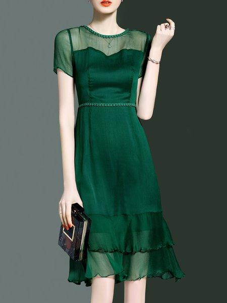 Elegant Short Sleeve Flounce Midi Dress