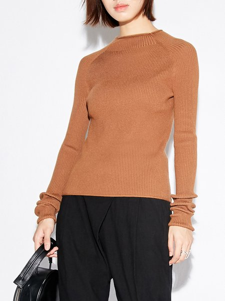 Brown Knitted Casual Sweater