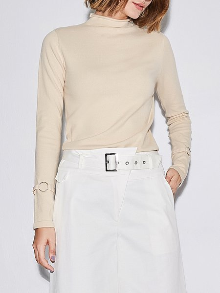 Solid Long Sleeve Stand Collar Top