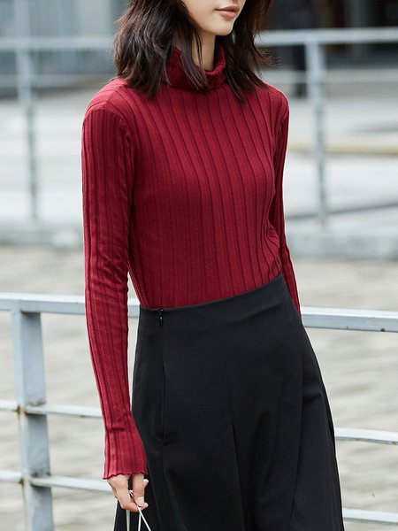 Long Sleeve Solid Cotton-blend Turtleneck Casual Sweater