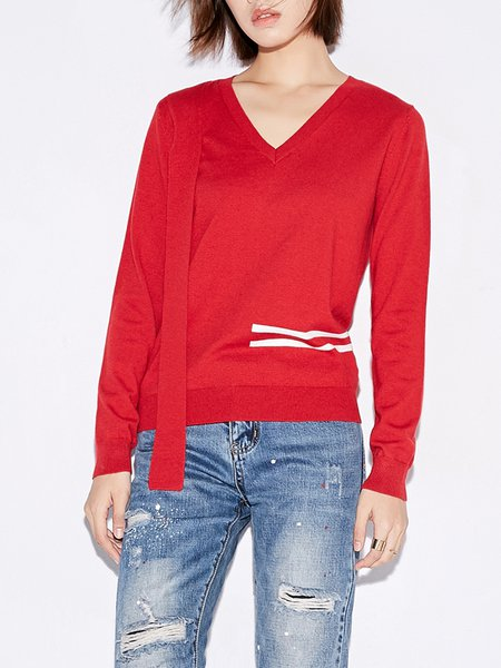 Casual Knitted Printed V Neck Long Sleeve Sweater
