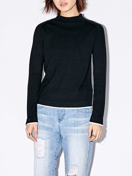 Slit Stand Collar Knitted Casual Sweater