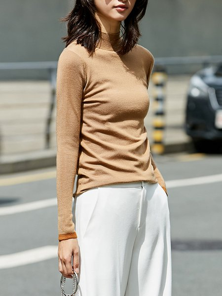 Turtleneck Casual Knitted Solid Sweater