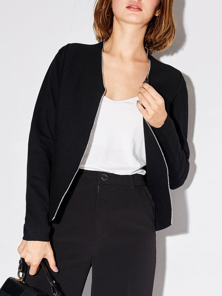 Shift V Neck Long Sleeve Solid Casual Cardigan