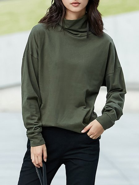 Long Sleeve Casual Turtle Neck Cotton Solid Top