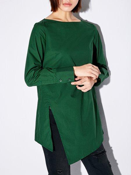 Plus Size Casual Cotton Long Sleeve Bateau/boat Neck Top