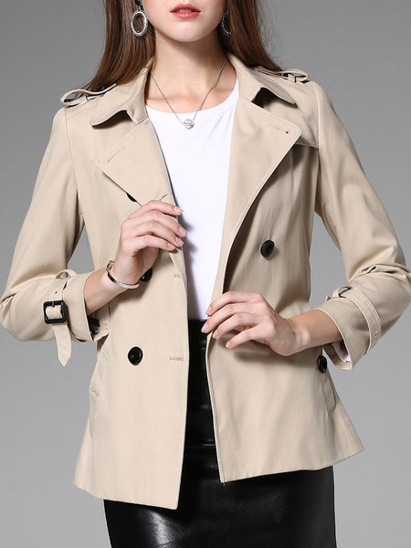 Khaki Lapel Solid Long Sleeve Trench Coat