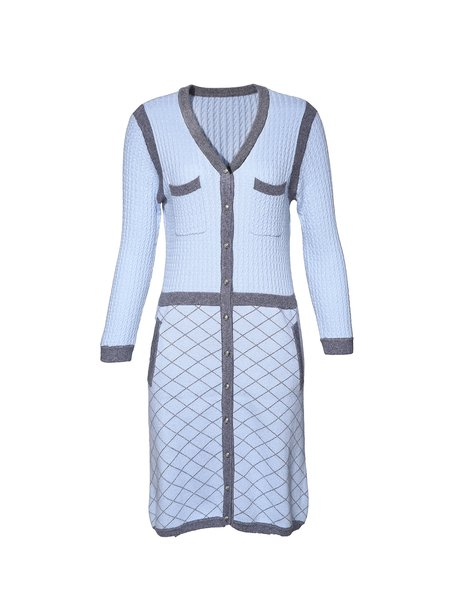 Light Blue Long Sleeve Blend Sweater Dress