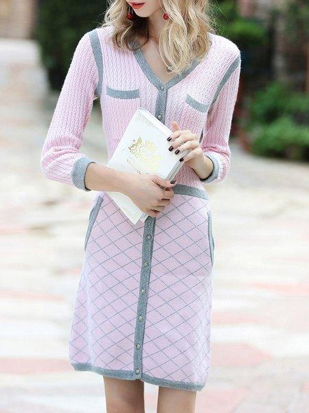 Wool Blend Long Sleeve Elegant Sweater Dress