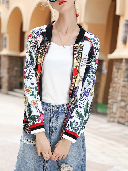 Multicolor Polyester Long Sleeve Printed Stand Collar Coat