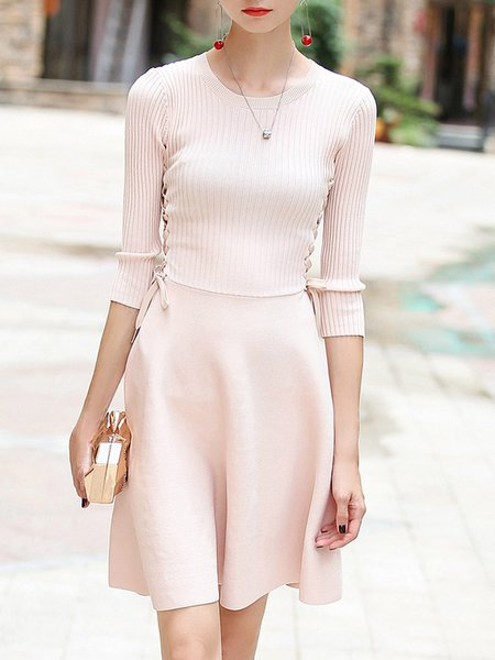 Pink Solid Elegant A-line Crew Neck Midi Dress