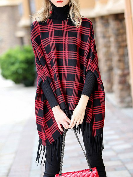 Black-red Casual Turtle Neck Jersey Viscose Sweater