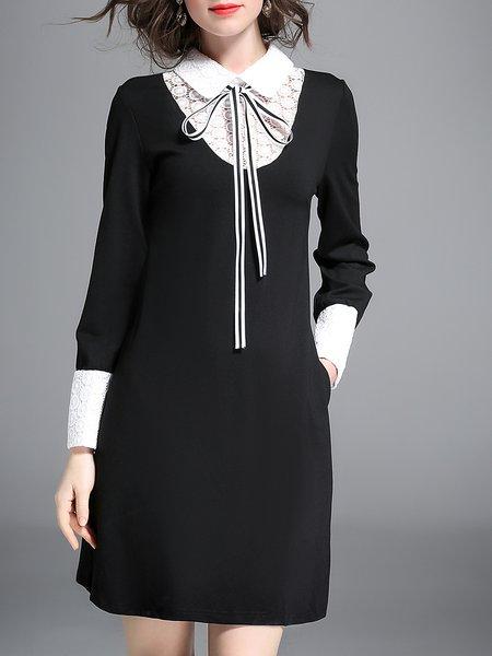 Black Elegant H-line Mini Dress