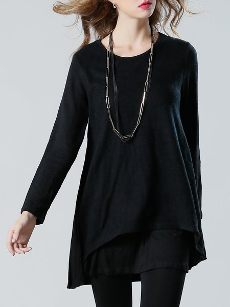 Black H-line Paneled Solid Long Sleeve Tunic