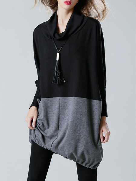 Cocoon Casual Long Sleeve Cowl Neck Tunic