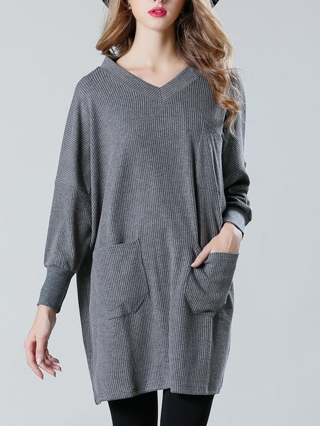 Gray Casual Solid Knitted Tunic