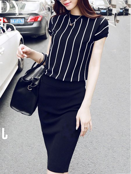 Black Stripes Short Sleeve Top With Skirt