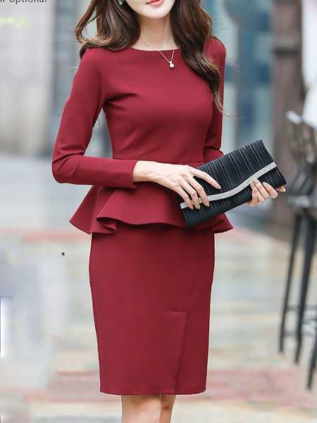 Burgundy Ruffled Crew Neck Long Sleeve Solid Midi Dress