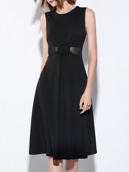 Black A-line See-through Look Crew Neck Sleeveless Midi Dress