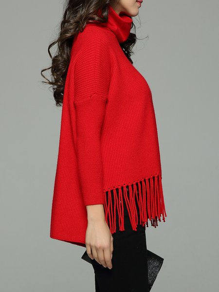 Red Cowl Neck Fringed Solid Long Sleeve Sweater - StyleWe.com
