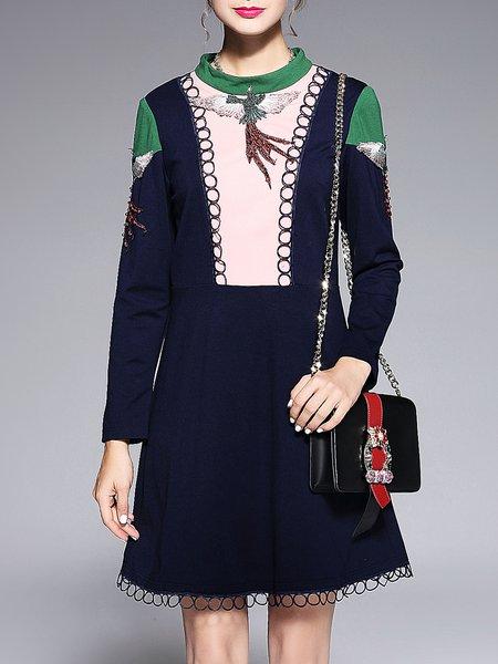 Plus Size Dark Blue A-line Long Sleeve Midi Dress