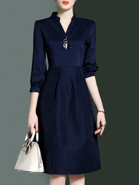 Navy Blue Cotton 3/4 Sleeve Ribbed A-line Midi Dress