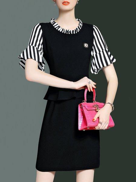 Black Stand Collar Simple Sheath Polyester Midi Dress