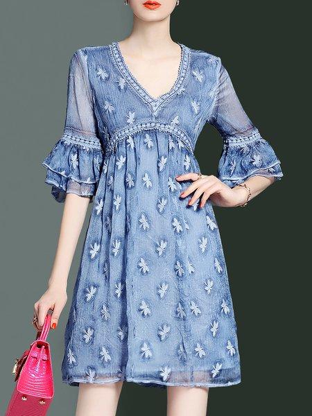 Blue Embroidered V Neck Casual Mini Dress