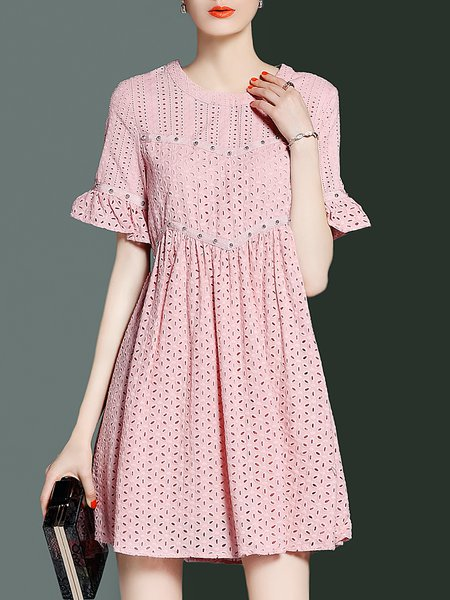 Girly Bell Sleeve Crew Neck Mini Dress