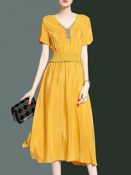Yellow Short Sleeve V Neck Midi Dress