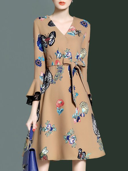 A-line Bell Sleeve Casual Wrap Dress