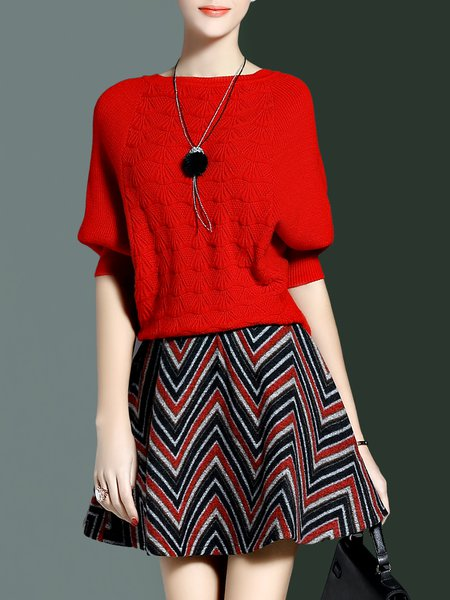 Red Crew Neck Batwing Printed Top With Skirt
