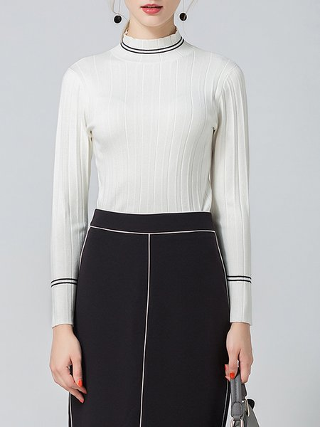 White Casual Knitted Turtleneck Sweater