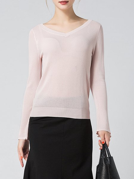 Pink Bell Sleeve V Neck Knitted Top
