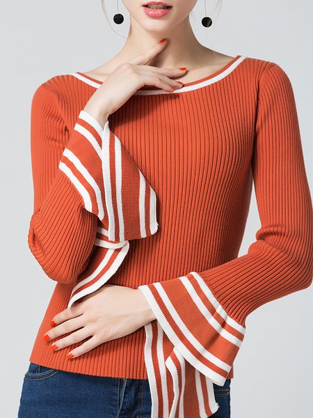 Stripes Bell Sleeve Casual Bateau/boat Neck Knitted Sweater