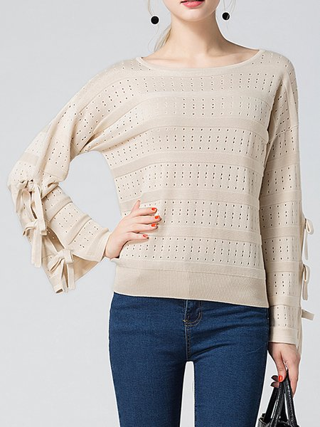 Apricot Knitted Solid Casual Sweater