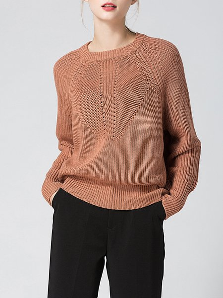 Solid Long Sleeve Casual Crew Neck Knitted Sweater