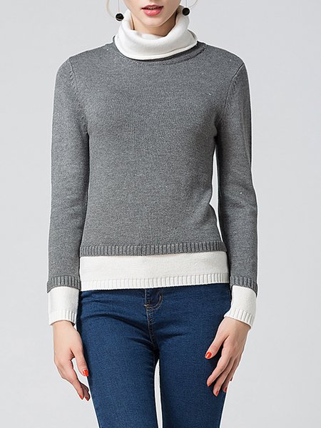 Gray Turtleneck Knitted Casual Sweater