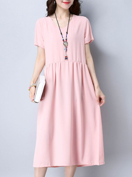 Pink V-Neck Casual Solid Gathered Midi Dress