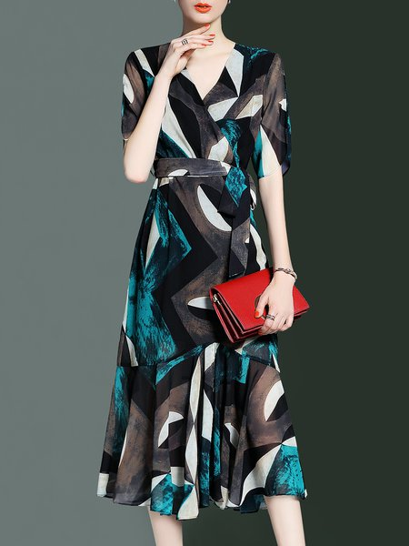 Multicolor Elegant Printed Flounce Geometric Midi Dress