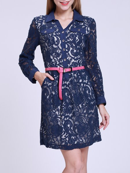 Floral Shirt Collar Long Sleeve Casual H-line Mini Dress
