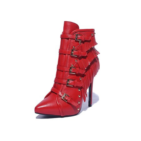 Buckle Leather Spring/Fall Stiletto Heel Casual Boots