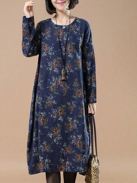 Navy Blue Crew Neck Printed Linen Long Sleeve Linen Dress