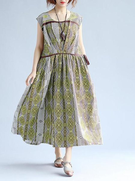 Green Cotton Casual Gathered Linen Dress