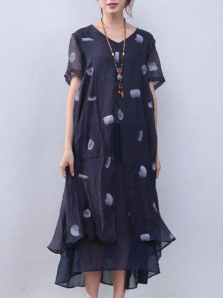 Navy Blue Printed Short Sleeve Linen Dress