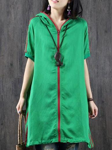 Green Hoodie Cotton Casual Linen Top