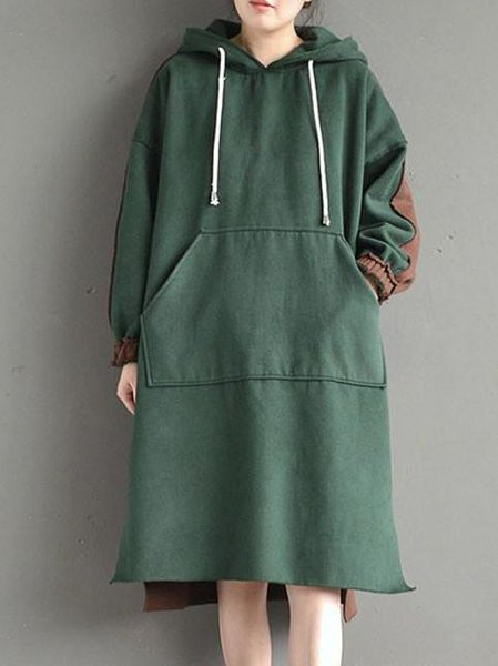 Dark Green H-line Slit Cotton Casual Linen Dress